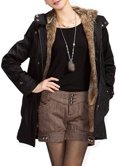 Plus Size Zipper Closure Hooded Collar Black Parka Coat