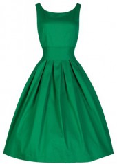 Sleeveless Round Neck Green Skater Dress