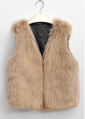 Faux Fur Light Tan Woman Vest