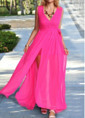 V Neck Sleeveless Rose Maxi Dress