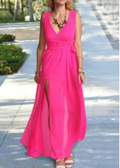wholesale V Neck Sleeveless Rose Maxi Dress