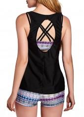 wholesale Cutout Back Round Neck Printed Swimwear Set