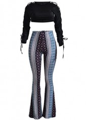 Black Crop Top and Printed Flare Pants