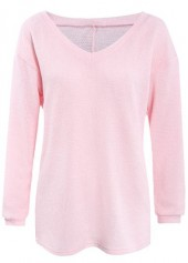 Solid Pink Long Sleeve Pullover Sweater