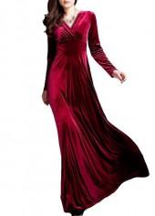 Wine Red V Neck Long Sleeve Dress