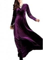 Dark Purple High Waist V Neck Maxi Dress