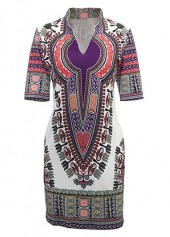 Dashiki Print Split Neck Short Sleeve Dress
