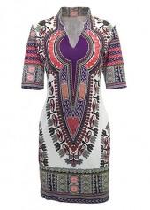 Dashiki Print Split Neck Short Sleeve Dress