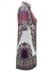 wholesale Dashiki Print Split Neck Short Sleeve Dress