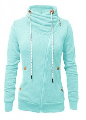 Zipper Closure Cuff Sleeve Cyan Sweatshirt