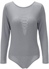 Lace Up Long Sleeve Multi Ways Design Bodysuit