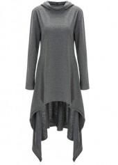 Hooded Collar Long Sleeve Grey High-Low Sweats
