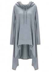Long Sleeve Hooded Collar Grey Sweats