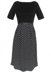 Patchwork Design Dot Print High Waist Dress