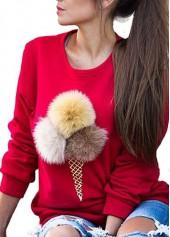 Round Neck Pom Pom Design Sweatshirt