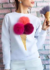 Multi Color Ball Decorated Round Neck Sweatshirt