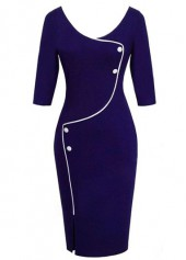 Front Slit High Waist Navy Blue OL Dress