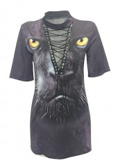 Short Sleeve Lace Up Animal Print T Shirt