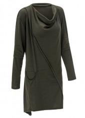 Deep Grey Long Sleeve Asymmetric Pullover Sweatshirt