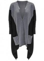 Asymmetric Hem Patchwork Design Batwing Sleeve Cardigan