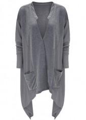 Patchwork Design Batwing Sleeve Asymmetric Cardigan