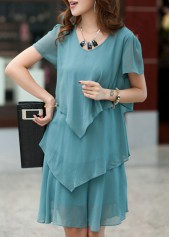 Green V Neck Tiered Chiffon Dress