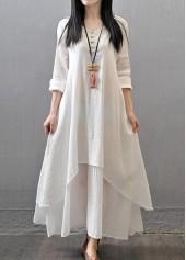 V Neck Long Sleeve White Maxi Dress