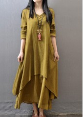 Button Design Long Sleeve Straight Maxi Dress