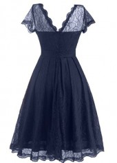 wholesale Cap Sleeve Navy Blue Lace A Line Dress
