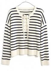 Round Neck Lace Up Design Stripe Print Sweater
