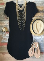 Black Short Sleeve Round Neck T Shirt