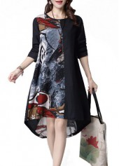 Long Sleeve Graffiti Print Asymmetric Dress