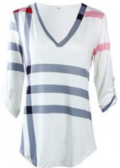 Stripe Print Three Quarter Sleeve T Shirt