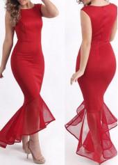Mesh Panel High Waist Red Mermaid Dress