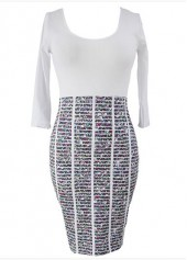 Printed Round Neck High Waist Sheath Dress