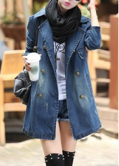 Turndown Collar Double Breasted Denim Coat