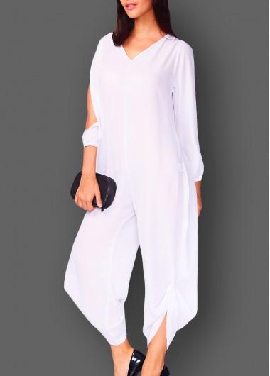 Slit Sleeve Solid White V Neck Jumpsuit