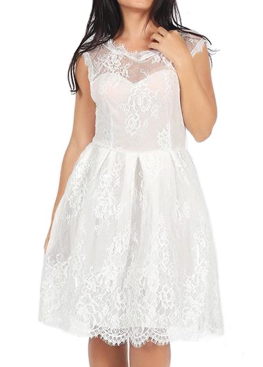 Sleeveless White Lace Round Neck A Line Dress