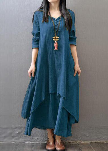 Button Design Long Sleeve Maxi Dress