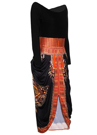 High Waist Round Neck Dashiki Asymmetric Dress