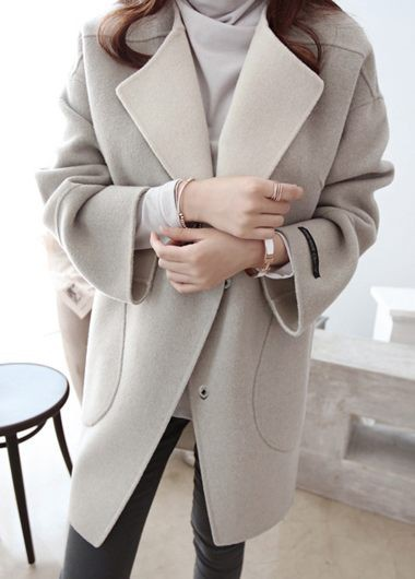 Pocket Design Long Sleeve Turndown Collar Coat