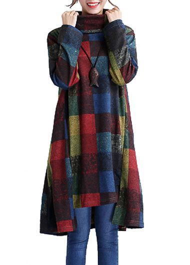 Asymmetric Hem Long Sleeve Turtleneck Plaid Straight Dress