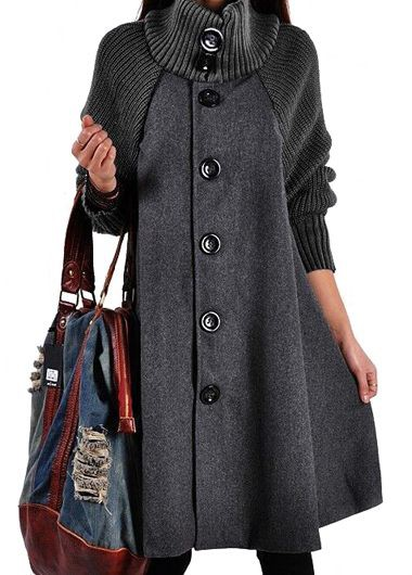 Long Sleeve Button Closure Grey Swing Coat