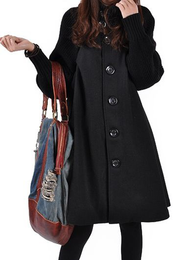 Button Closure Black Long Sleeve Swing Coat
