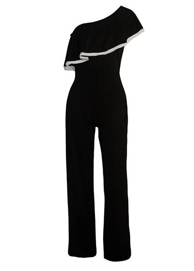 Black Flounce Design Skew Neck Jumpsuit