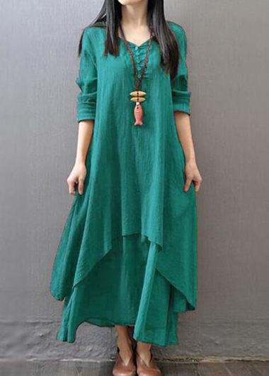 Green V Neck Long Sleeve Button Design Dress