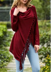 Wine Red Asymmetric Hem Long Sleeve Tassel T Shirt