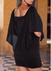 wholesale Round Neck Ruffle Overlay Sheath Dress