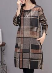 Plaid Print Pocket Design Asymmetric Dress