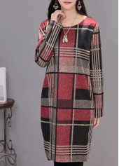 Plaid Print Round Neck Straight Dress